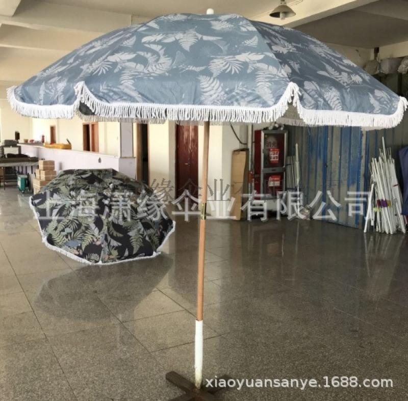 流苏太阳伞定制、棉质流苏遮阳伞订做、涤纶流苏太阳伞