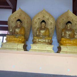 直销彩绘娑婆三圣 供奉开光佛像 纯手工香樟木雕像