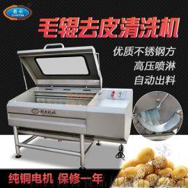 商用土豆芋头红薯毛刷去皮清洗机