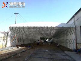 广州生产彩色PVC帆布伸缩遮阳篷推拉式雨棚