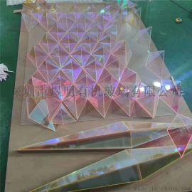 亚克力彩虹板 炫彩板七彩镜面板加工定制激光雕刻