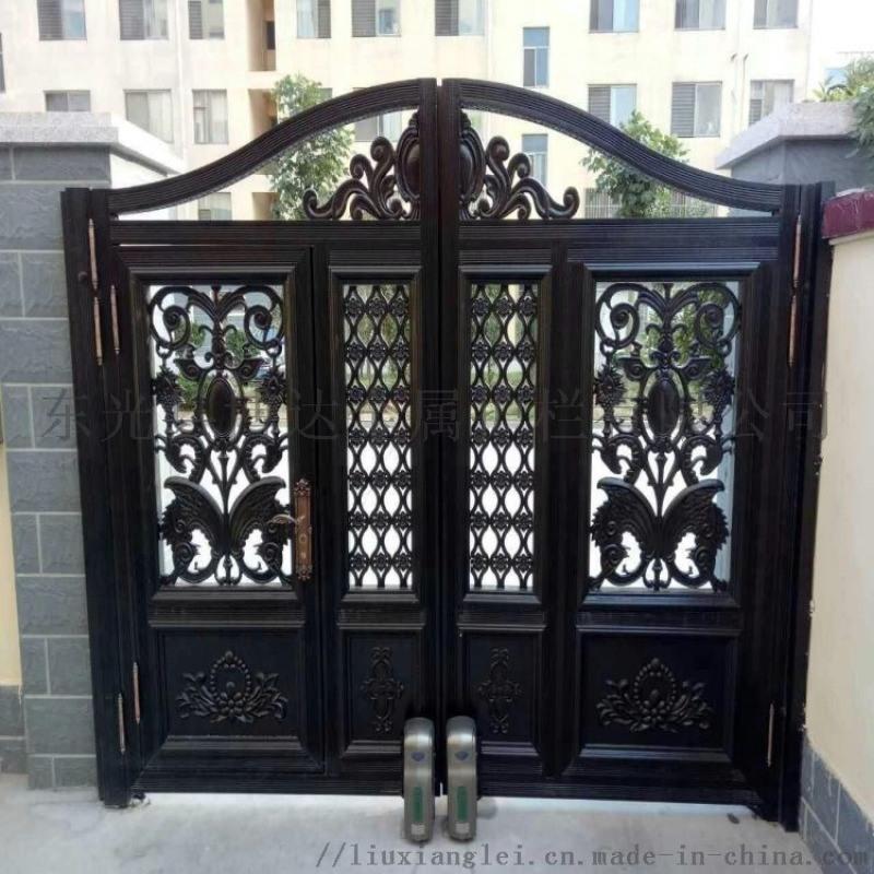 北京順義區小區圍牆鐵藝護欄黑紗紋鏤空庭院大門