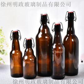 工厂330ml500ml玻璃棕色啤酒瓶卡扣乐扣瓶
