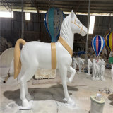 玻璃钢骏马雕塑 商业广场美陈玻璃钢动物雕塑摆设