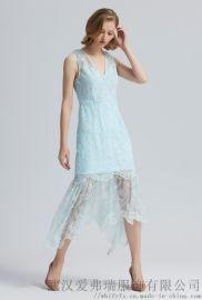 谷度2020春五分袖宽松中长款裙子无标服装货源