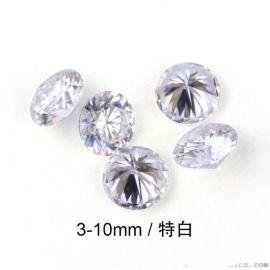 廠家供應人造鑽石 特白3EX切割裸石 圓形莫桑石