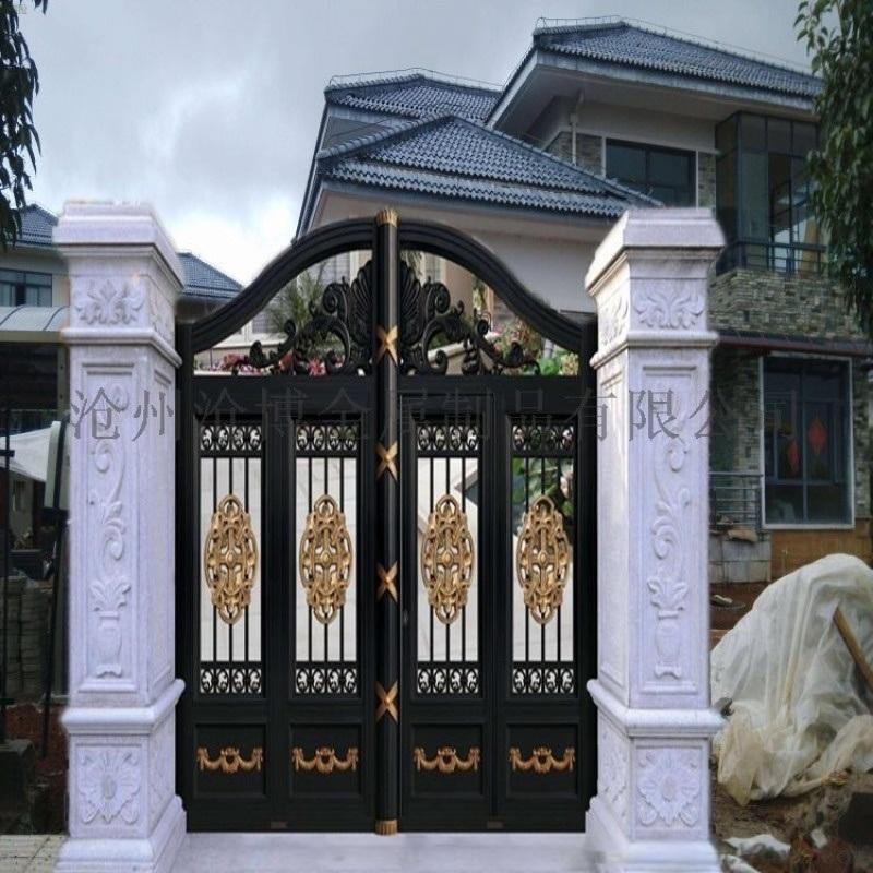 連雲港市灌南縣小區圍牆鐵藝護欄鏤空庭院大門一站
