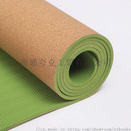 软木TPE双面简约瑜伽垫