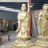 供应西方三圣贴金铜佛像 铜雕西方三圣厂家
