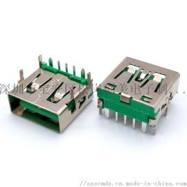 厂家直销USB连接器 90度5P母座OP  5A大电流绿色胶芯直边