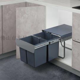 厨房分类垃圾桶隐藏嵌入式厨余橱柜内置大号容量有盖