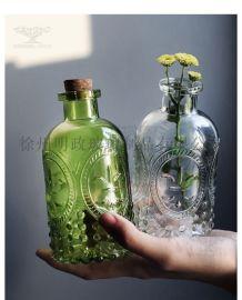 浮雕瓶复古香薰瓶精油瓶透明密封瓶水培瓶干花器瓶