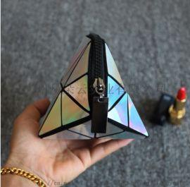 时尚镭射PU半圆化妆包 几何图案闪亮贝壳化妆包