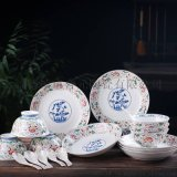 訂製員工福利禮品陶瓷食具,釉中彩骨瓷食具套裝
