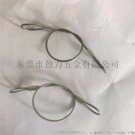 2.0钢丝绳包胶尼龙钢丝绳压环配挂钩安全绳吊绳