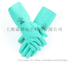 舒適性丁腈防化手套弱酸弱鹼防化手套綠色丁腈手套