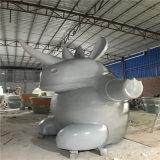 定製景觀綠地動物雕塑 佛山玻璃鋼動物犀牛雕塑