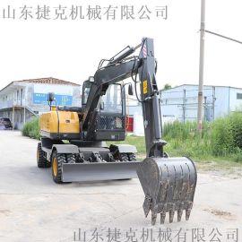 轮胎式挖掘机 四驱轮式抓木机 80建筑小型轮挖捷克