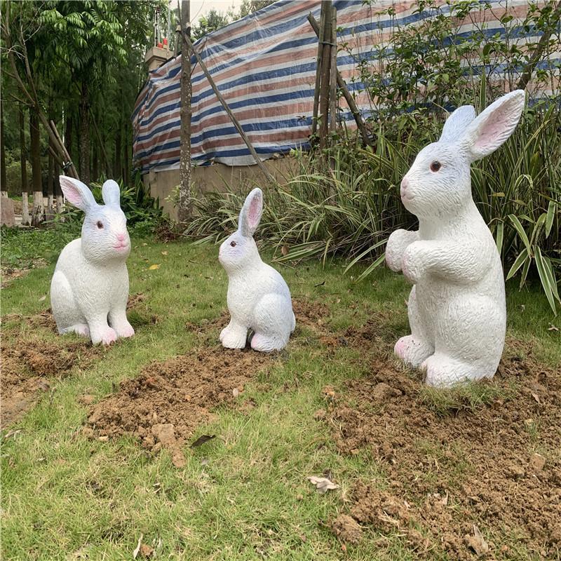 玻璃钢兔子雕塑 房地产景观装饰美陈