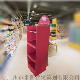 礼品纸货架分层纸陈列架直供落地瓦楞纸展示架