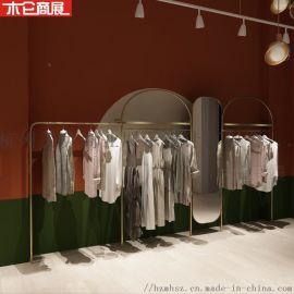 不锈钢服装店展示架 杭州独具展示架 钛金色展示架
