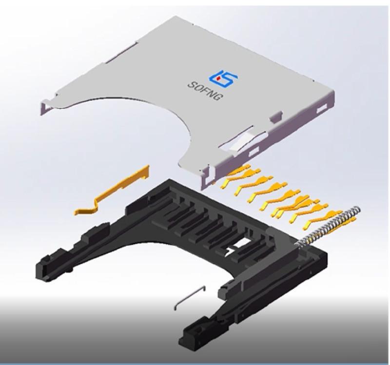推-推式 表面贴装 SD储存卡连接器