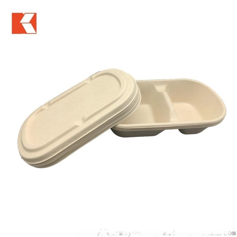 850ml 2格紙餐盒一次性可降解紙餐盒