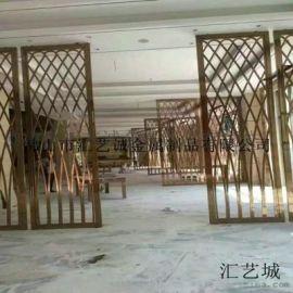惠州**会所室内装饰 青古铜不锈钢屏风 金属镂空屏风隔断