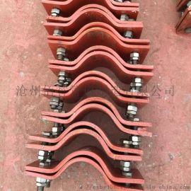 A7三螺栓管夹 化工标准扁钢管夹 镀锌管夹