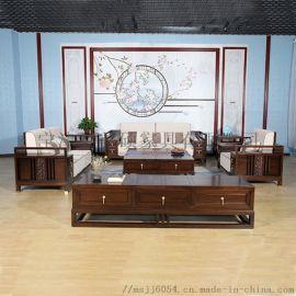 美硕新中式实木沙发,禅意轻奢风,家用客厅组合家具