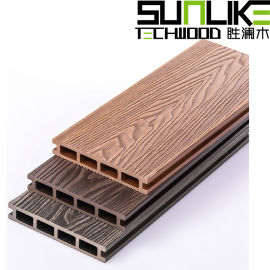 立体花纹塑木地板木纹圆孔户外塑木地板