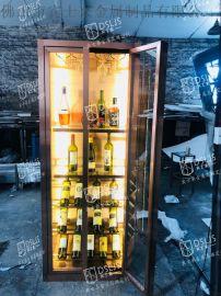 拉丝面红古铜不锈钢酒柜定制不锈钢酒柜迷你不锈钢酒柜