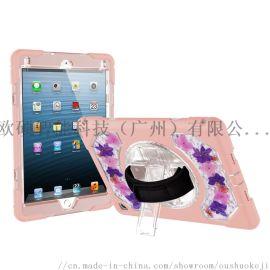 可爱粉硅胶适用iPad air2平板真花保护套