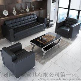 广州办公沙发简约现代真皮沙发 厂家直供办公室会客沙发