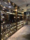 定制酒店不鏽鋼酒架開放式燈光紅酒架歐式別墅酒架