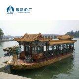 国内著名公园商业性游船装载游客售票船双层电动游船