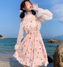 草莓塔lolita內搭雪紡衫學生軟妹洛麗塔洋裝全套日常公主仙女裙子