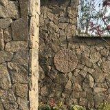 天然板巖黃木紋黃白色碎拼板巖片石-冰裂紋