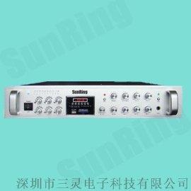 深圳三灵厂家供应公共广播系统SL-MA-600P六分区带MP3播放合并式广播功放