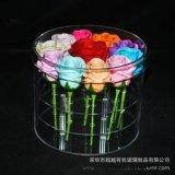 定制盒子圆形亚克力玫瑰花盒永生鲜花盒带孔亚克力圆筒包装盒