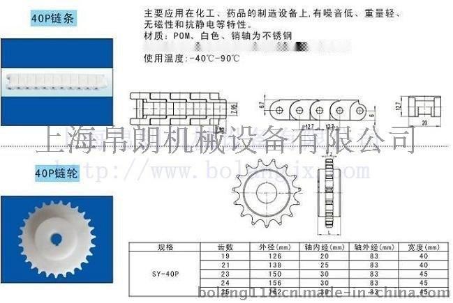 上海帛朗40P塑料鏈條
