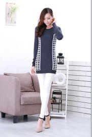 叶荣纺织, 新款时尚菱格中长款包,P女款纯羊绒衫