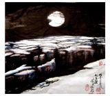 畫家馬振原創國畫(油畫)西北風光系列之《雅丹冬月》