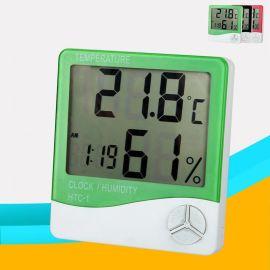 大屏幕电子温湿度计 数字温度计HTC-1 爬宠大棚温湿度表闹钟