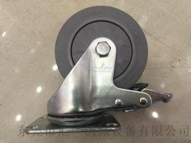 汇一中型4寸带刹车人造胶脚轮  全刹TPR脚轮