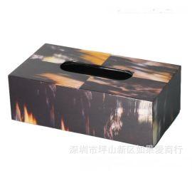 黑色木质长方形黄牛角骨纸巾盒欧式创意客厅卧室酒店样板房间摆件