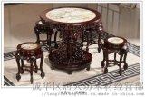 成都红木明清家具仿古圆茶台成都唐人坊中式大理石餐桌古实木客厅家具茶桌