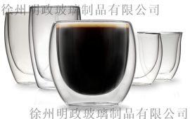 雙層玻璃杯耐高溫透明喝水泡茶杯隔熱家用水杯帶把咖啡杯子
