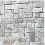 天然青灰色鋪地石材 粉石英亂形石冰裂紋 不規則石板砌牆毛石料