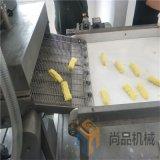 玉米卷裹浆机现场高清图+金黄玉米酥裹糠机